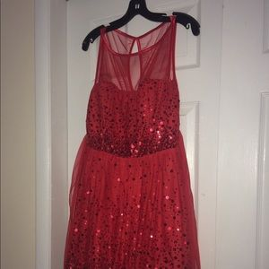 Red formal dress—short